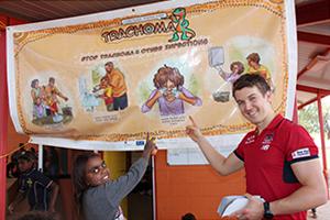 'Clean Faces Strong Eyes' health promotion for trachoma with Melbourne Football Club's Jack Trengrove in Ntaria Northern Territory, May 2015.