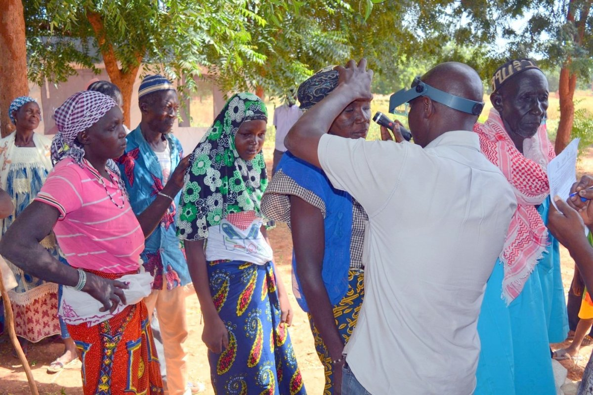 Villagers in Basnéré, Burkina Faso, are screened for trichiasis. Those found to have the blinding condition were offered free surgery.