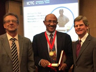 Left to right: ICTC Chair Martin Kollmann, Wondu Alemayehu and Michael MacCallan