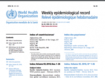 Latest World Health Organization Weekly Epidemiological Record shows